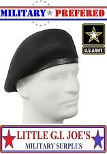 BLACK G.I. Military Army Inspection Ready No Flash Wool Beret 4949