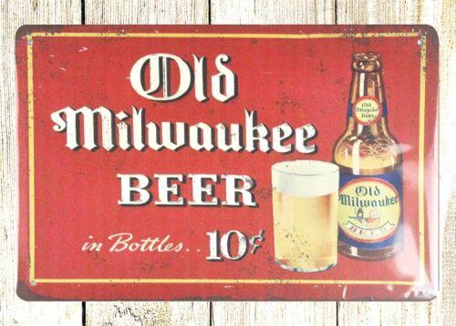 room decor lodge cafes Old Milwaukee Beer pub bar tin metal sign