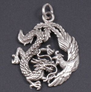 925 Sterling Silver Phoenix and Dragon Pendant for Necklace