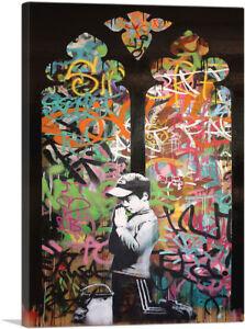 ARTCANVAS-Forgive-Us-Our-Trespassing-Canvas-Art-Print-by-Banksy