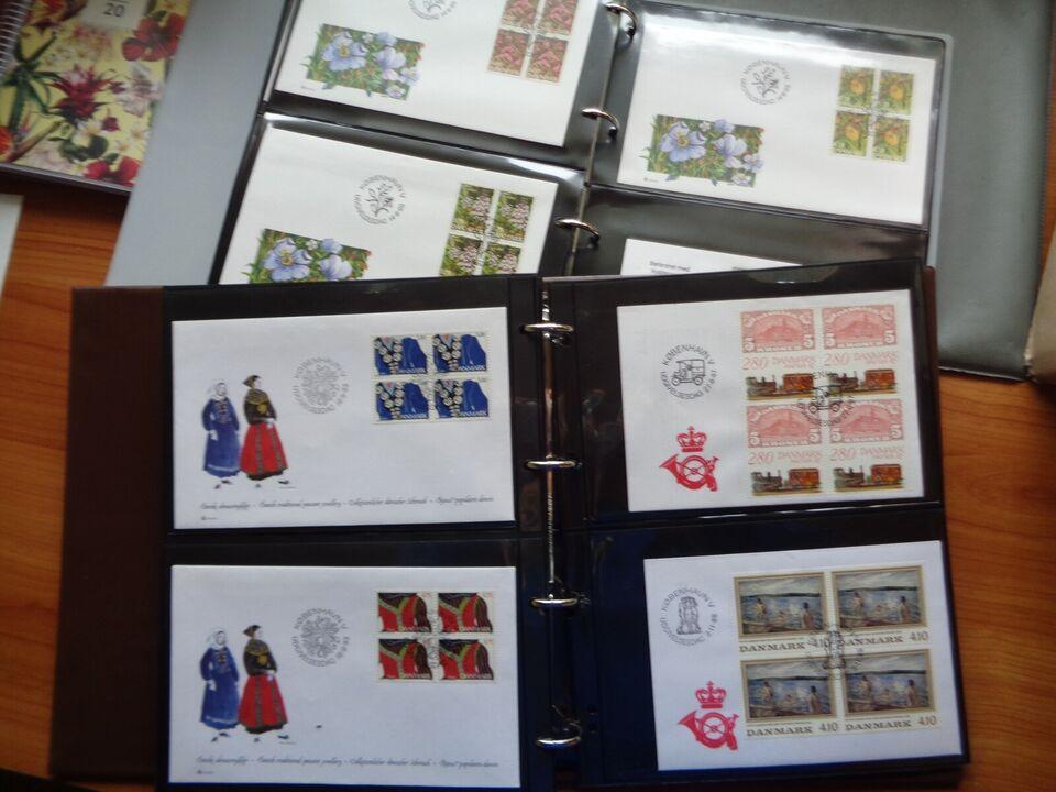 Danmark, stemplet, FD.Kuverter med 4 Blok