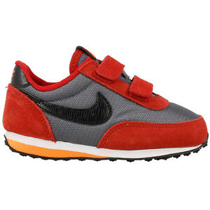 NIKE ELITE TODDLER VELCRO 512118-037 SHOES SNEAKERS SUEDE RED GREY ... b2ec29e182ab