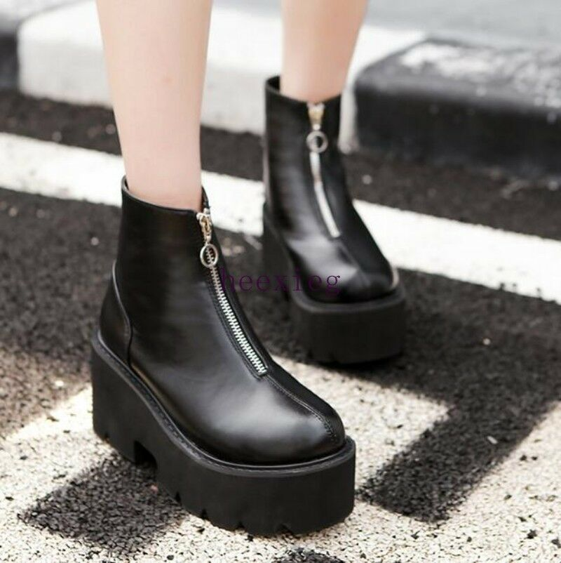 Punk Womens Goth shoes Round Toe Zipper Boots Platform Motorcycle Round Toe Size