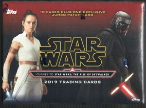 Topps-2019-Star-Wars-The-Rise-Of-Skywalker-61-Card-Blaster-Box-Jumbo-Patch-Card