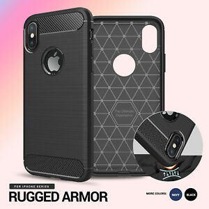 Rugged Armor SLIM Resilient Soft Cover for iPhone X s 8 7 6 6S Plus 5 5S 5C SE