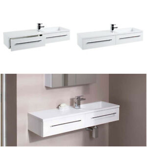 Superb Details About Designer White Drawer Modern Bathroom Vanity Unit Basin Sink Wall Mount 995Mm Download Free Architecture Designs Itiscsunscenecom