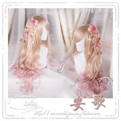 Goddess Harajuku Cosplay Lolita Sweet Pink Gradient Princess Wig Curly Hairpiece