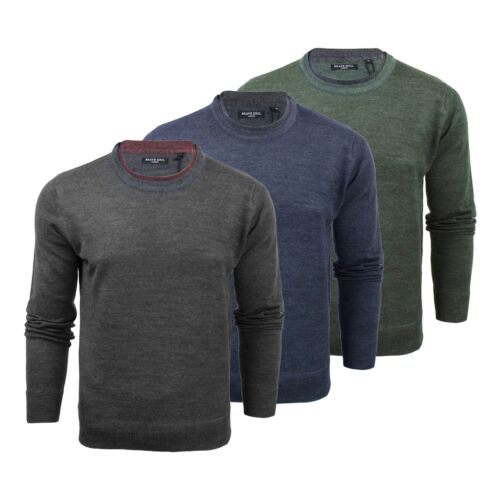 Mens Jumper Brave Soul Akuna Knitted Crew Neck Sweater With Mock Inner