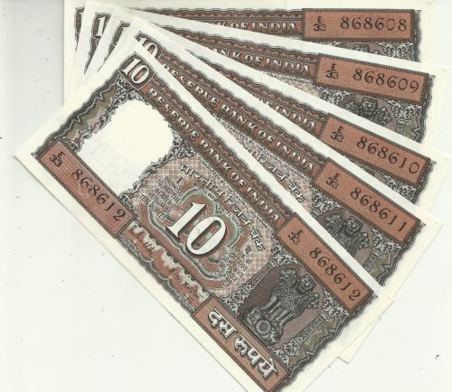 10 RUPEES RARE COLLECTABLE NOTES INDIA 10 Rs BANKNOTES 5 PCS UNC