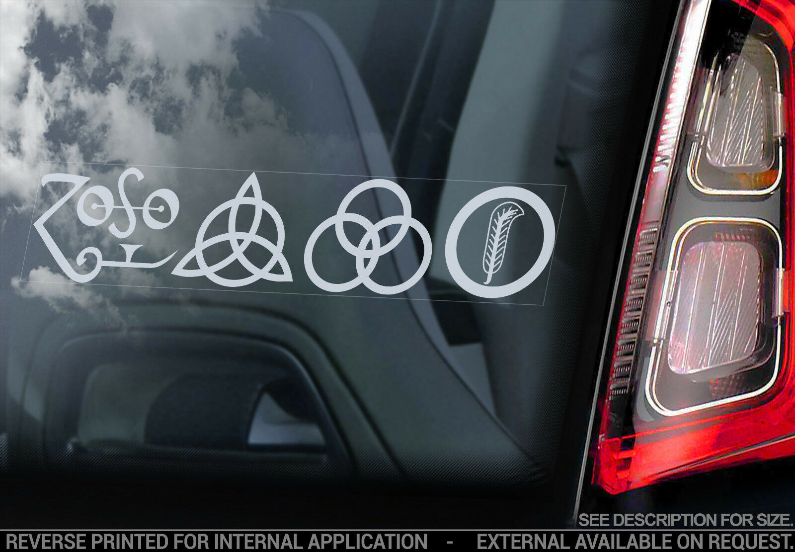 Band Symbols ZOSO Car Laptop Sticker LED ZEPPELIN IV .. Vinyl Decal ..
