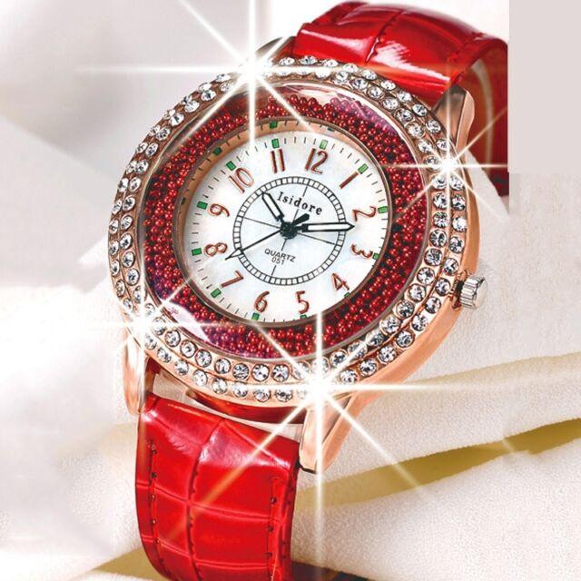 2018 Women Luxury Quartz Wristwatch Casual Leather Diamond Rhinestone Watch H18