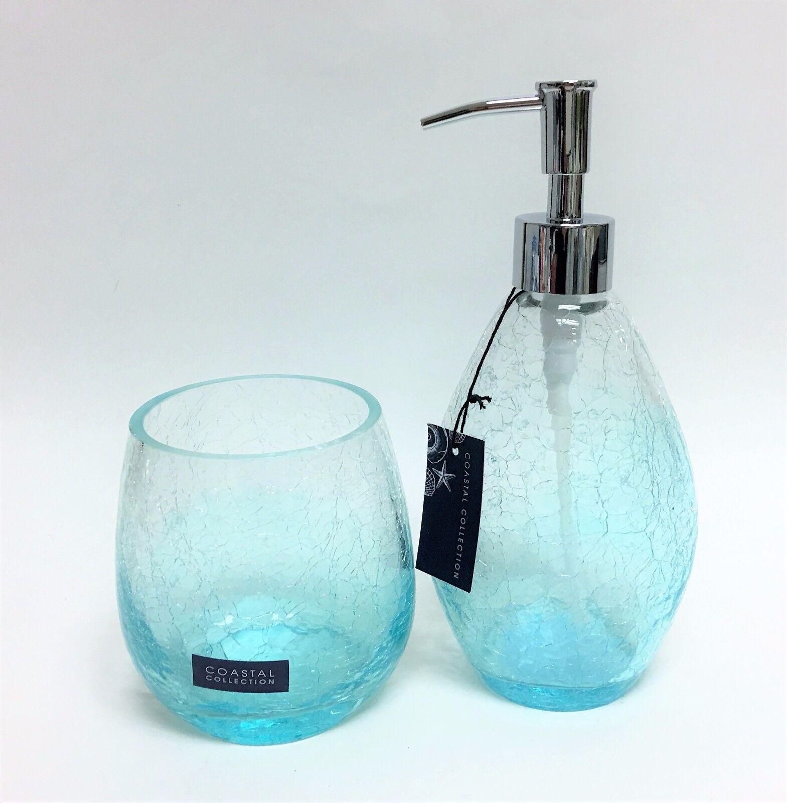 Neu 2 Stk. Set Coastal Collection Klar Ausgebrochenes Glas + Blau, Seife, Lotion
