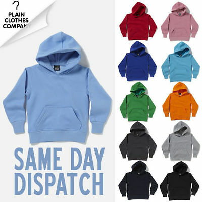 Kids Plain Hoodie Boys Girls Childrens Hoody Hooded Sweatshirt NEW All Colours