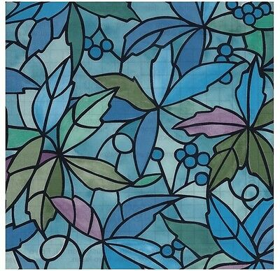 "NANTES Stained Glass Decorative Window Film, Self-Adhesive Film 18""x 39"""