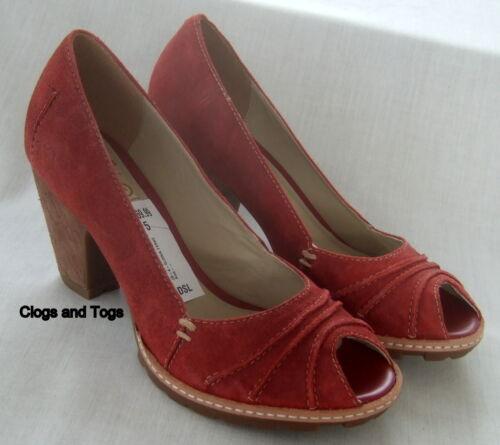toe mujer nubuck Nuevo cuero Clarks peep 5 rojo de de talla zapatos Ferne para 38 Gloria Rvvpq4