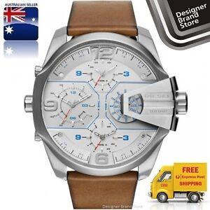 New-Diesel-Mens-Watch-Uber-Chief-Oversized-Silver-Brown-Leather-Strap-DZ7374