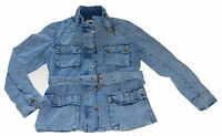 New Ladies Denim Jacket Retro Vintage Biker Belted Fashion Zip Coat Trendy Smart
