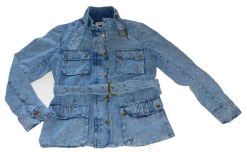 Denim À Mode Ceinture Jacket Manteau New 10 Vintage Ladies 26 Vintage Zip Biker La Mode qgg1wx