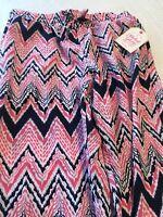 Girls Chevron Pink Blue Soft Pant Light Weight Pants Elastic Waist L 10- 12