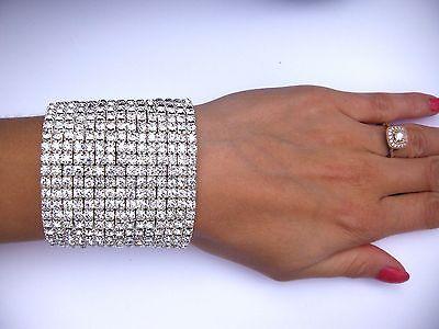 15 rows crystal bracelet ballroom latin dance pageant fitness bikini performance