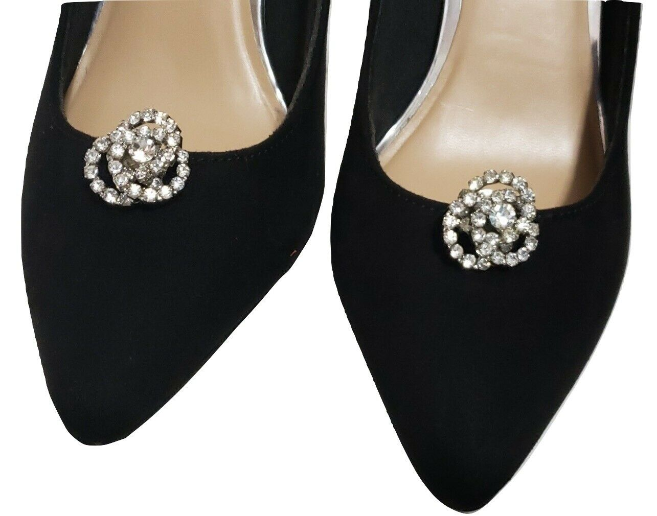 Bridal Wedding Prom Rhinestone Silver Knots Faux Pearl Cluster Shoe Clips Pair
