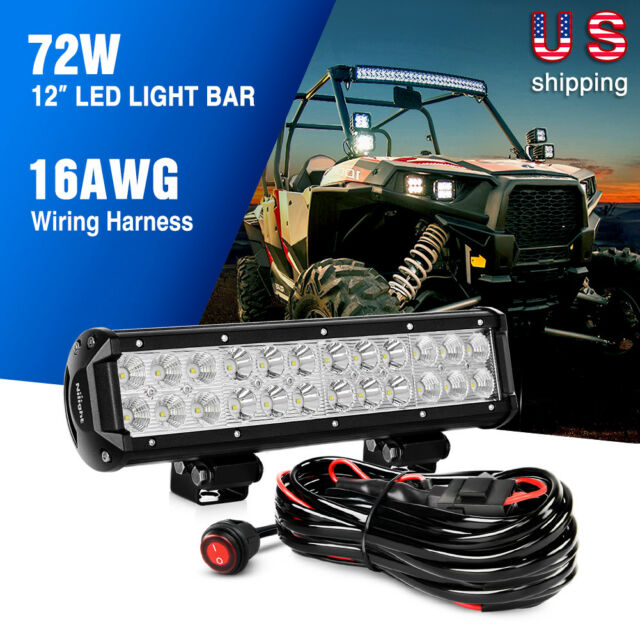 Nilight Zh007 LED Light Bar 12 Inch 72w Spot Flood Combo With off Road on