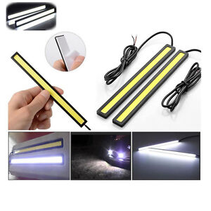 2x-Waterproof-Car-DRL-Fog-LED-Lights-Strip-Daytime-Running-COB-Bright-Drive-Lamp