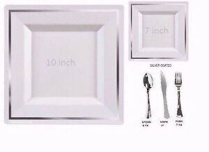 Image is loading Bulk-Dinner-Wedding-Disposable-Square-Plastic-Plates -silverware-  sc 1 st  eBay & BulkDinner/Wedding Disposable Square Plastic Plates silverware ...