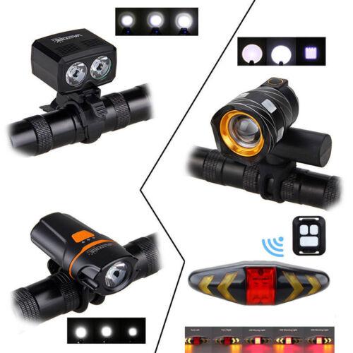 5000LM XM-L T6 LED Bike HeadLight Headlamp Remote Signal Taillight Rechargable