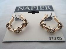 Napier gold tone rope wrapped small hoop earrings, NWT