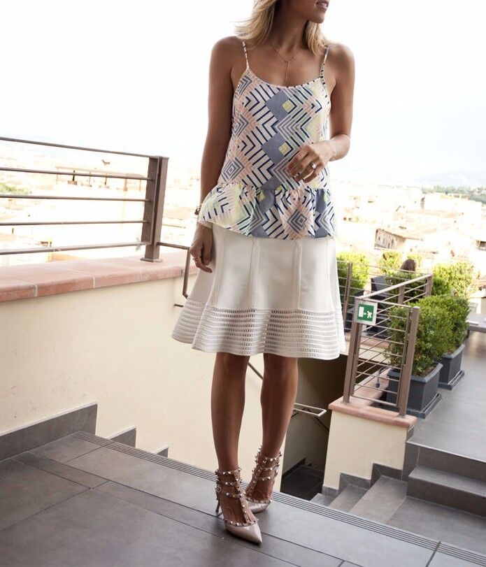 NWT DVF Diane Von Furstenberg Samara Crochet Hem Knit Flare Skirt White Size S