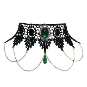 Gothic-Emerald-green-lace-choker-necklace-Steampunk-victorian-wedding-SINISTRA