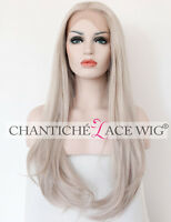 Lace Front Wigs Light Ash Blonde Synthetic Hair Long Straight Heat Resistant 24""