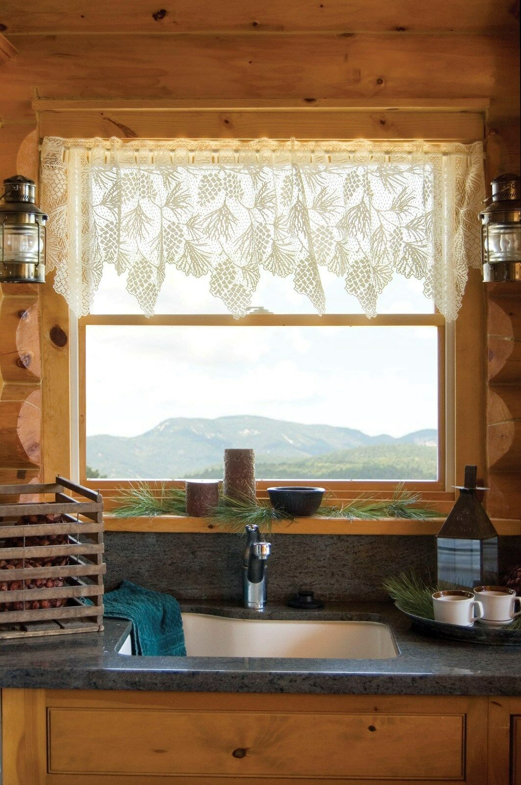 Woodland Pinecone White Lace Window Valance By Heritage Lace 0734573045532 For Sale Online
