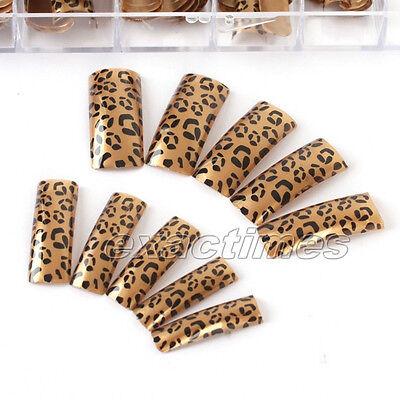 70pcs French Manicure False Nail Art Tips Fashion Brown Leopard Design Tips
