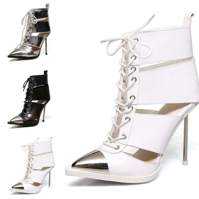 Womens Lace up Pointy Toe Roma Stilettos Metal Casual  Ankle Sandals Boots shoes