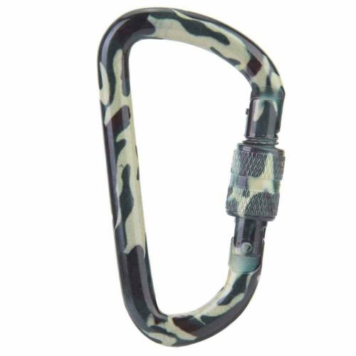 7*3.8cm Camouflage D Shape Carabiner Outdoor Mountaineering Camping Buckle Hook