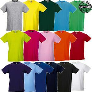 Russell-Para-hombre-Camiseta-de-Manga-Corta-Entallado-Camiseta