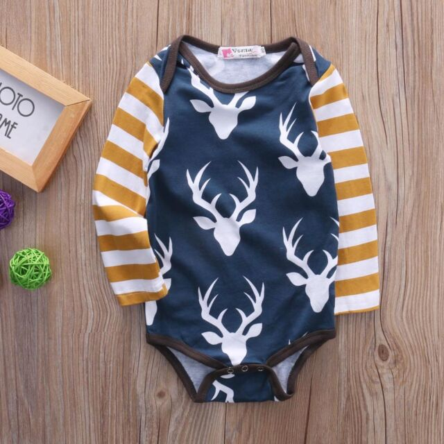 Newborn Toddlers Baby Boys Girls Clothes Deer Bodysuits Rompers Jumpsuit Outfits