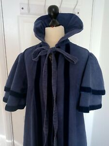 Laura-Ashley-Jane-Austen-Regency-blue-cape-coat-Ditsy-Vintage-SUPER-RARE-1960s