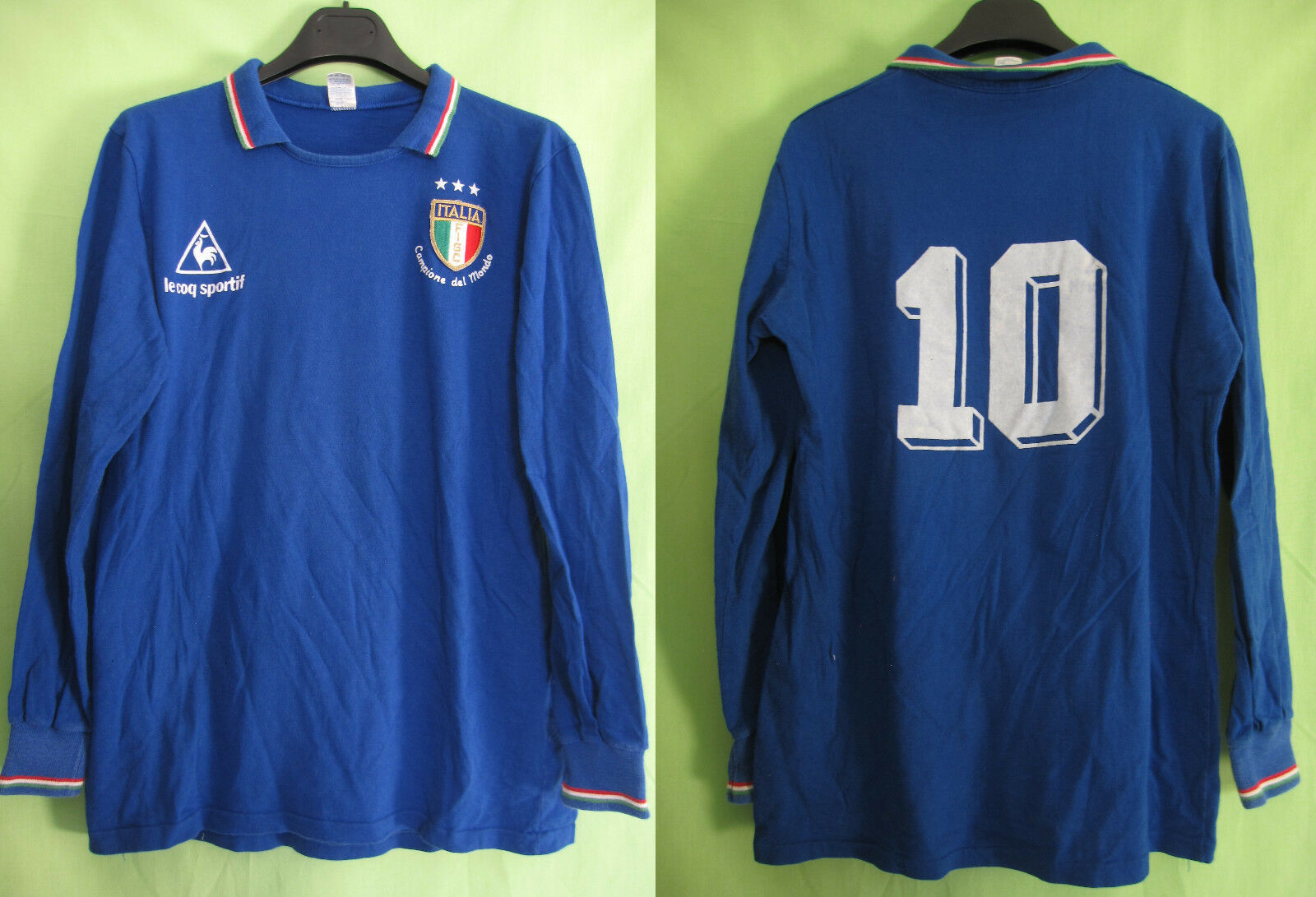 Maillot Le Coq Sportif ITALIE Calcio Match camiseta italia Jersey Vintage - L