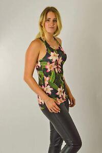 Linea-DONNA-WHITE-LABEL-Activewear-Fitness-Floreale-Palestra-Gilet-oscillazione-superiore-vendita