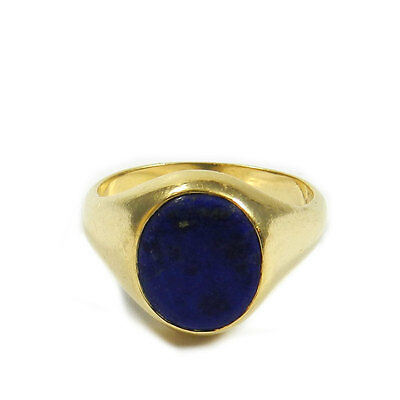 Eleganter Damen Siegelring 750 Gold mit Lapis Lazuli Ring ungraviert