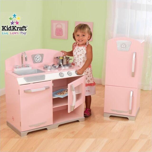 Kidkraft Pink Retro Pretend Play Kids Kitchen And Refrigerator Preschool Toys For Sale Online Ebay
