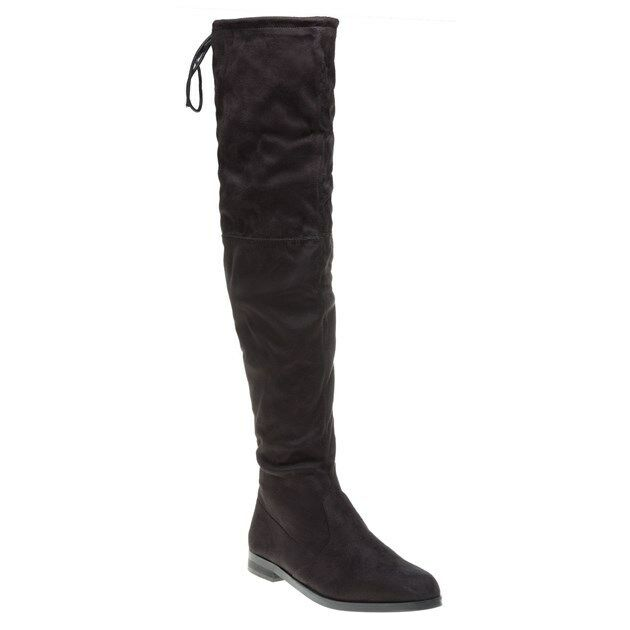New Womens SOLE Black Topaz Synthetic Boots Knee-High Lace Up Zip