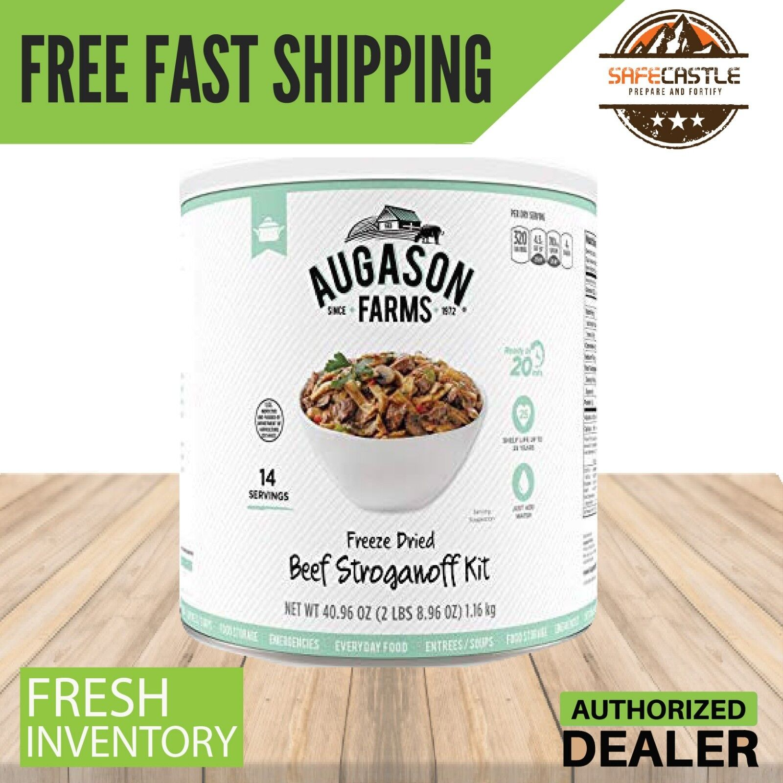Augason Farms Emergency Food Freeze Dried Beef Stroganoff 1Can Survival Disaster
