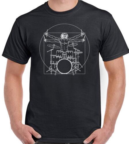Mens Funny Drumming T-Shirt Drums Drum Kit Stick Vitruvian  Drummer Man