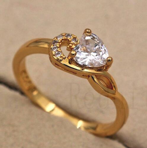 18K Yellow Gold Filled Promise Claw Ring Clear Heart Zircon Swirl Size6-9 Lady