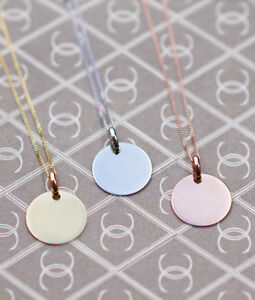 8926eca66f0bd Details about Personalised Solid Yellow, White or Rose 9ct Gold Disc  Necklace Pendant ENGRAVE