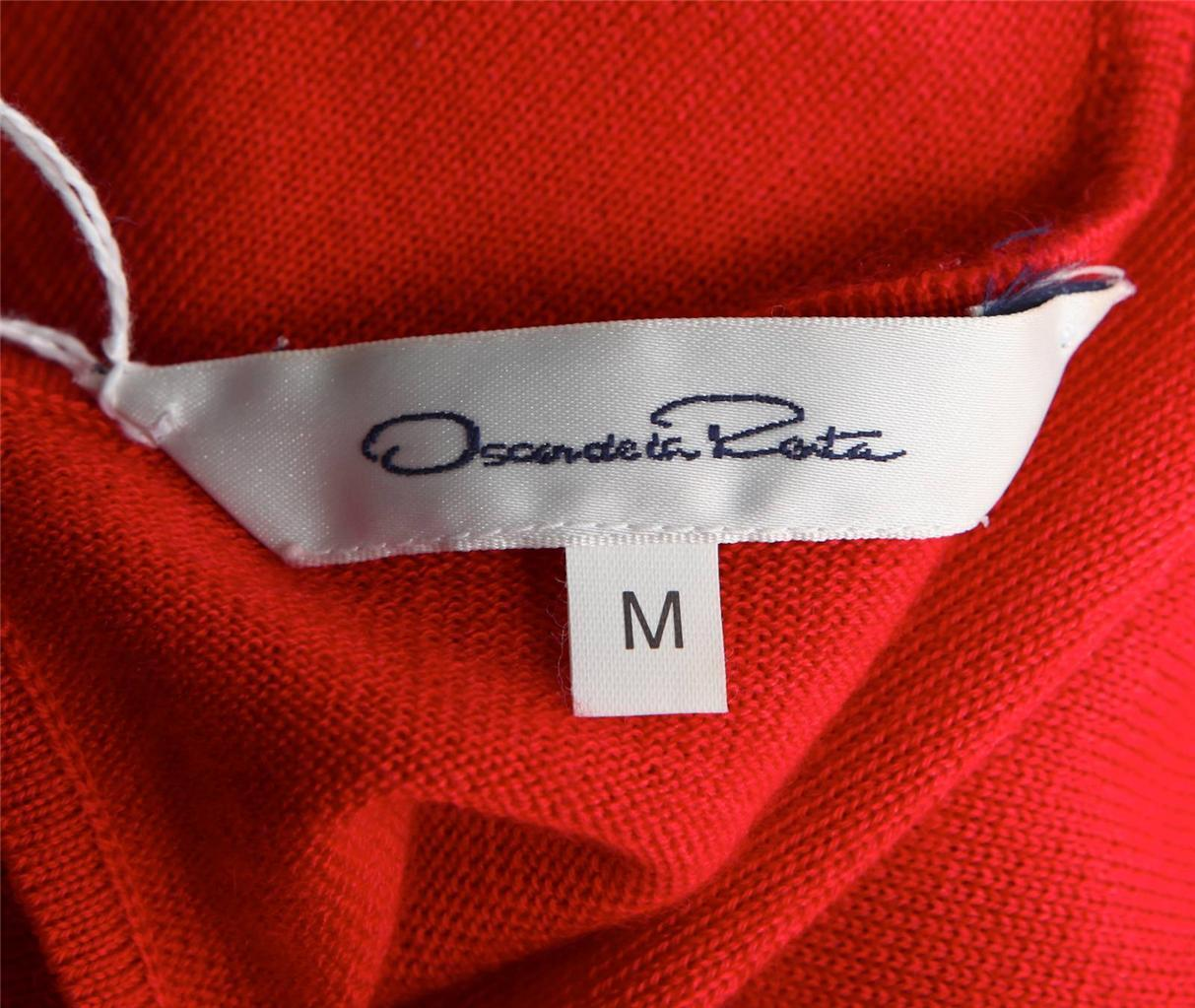 Oscar De la Renta Rosso Rosso Rosso Seta Lana Maglione + Stampa Gonna a Pieghe 36311f